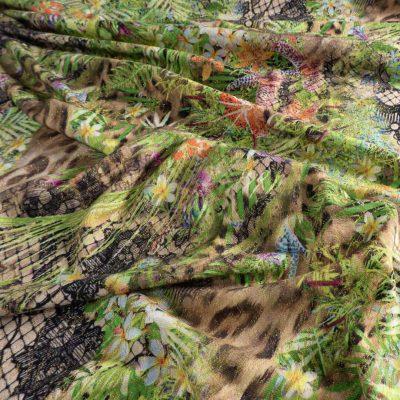 Weicher Dicker Jersey Jacquard winter herbst safari meterware grün